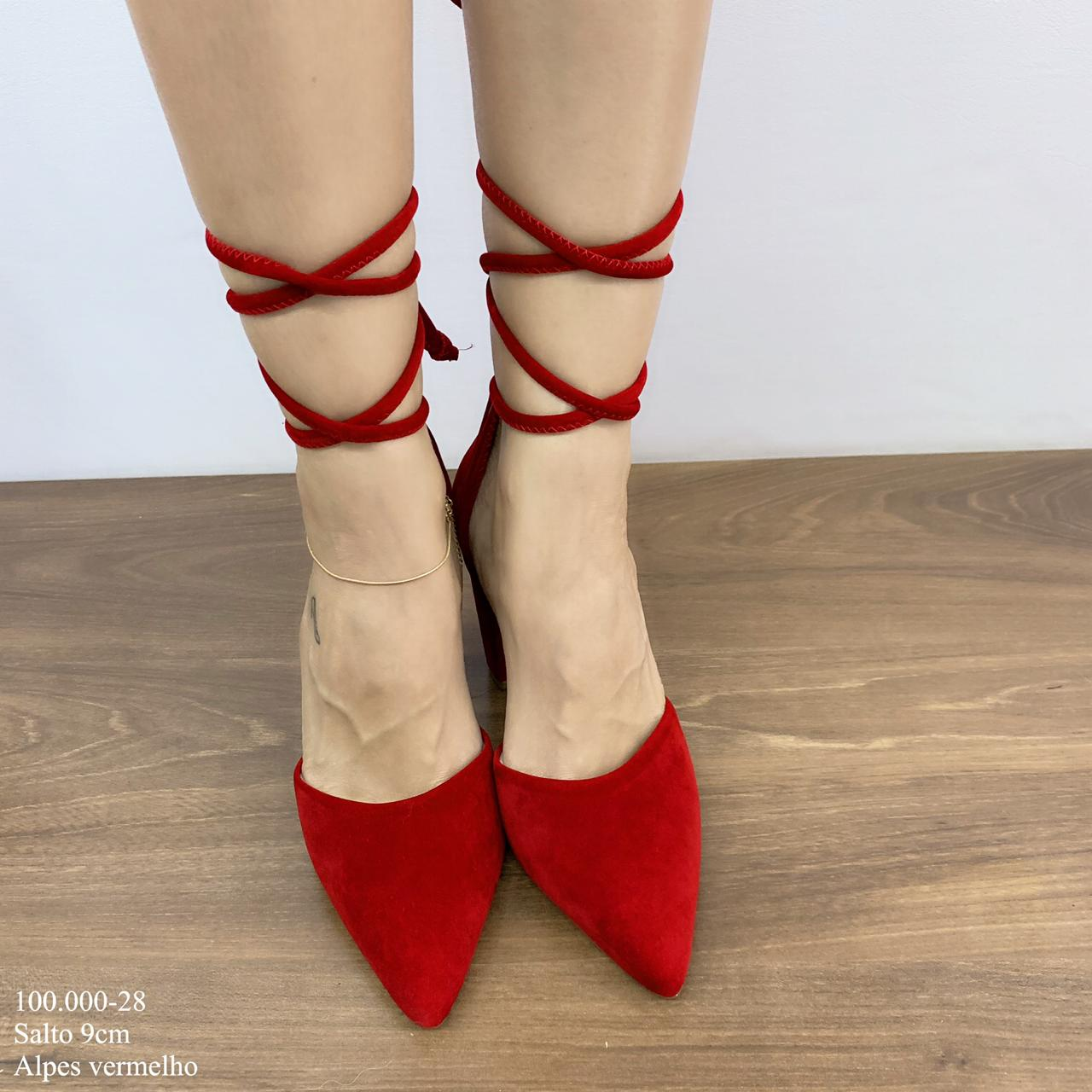 Scarpin Vermelho Alpes com amarração   D-100.000-28