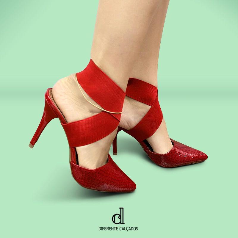 Scarpin Vermelho com Elastico   D-25.000-99