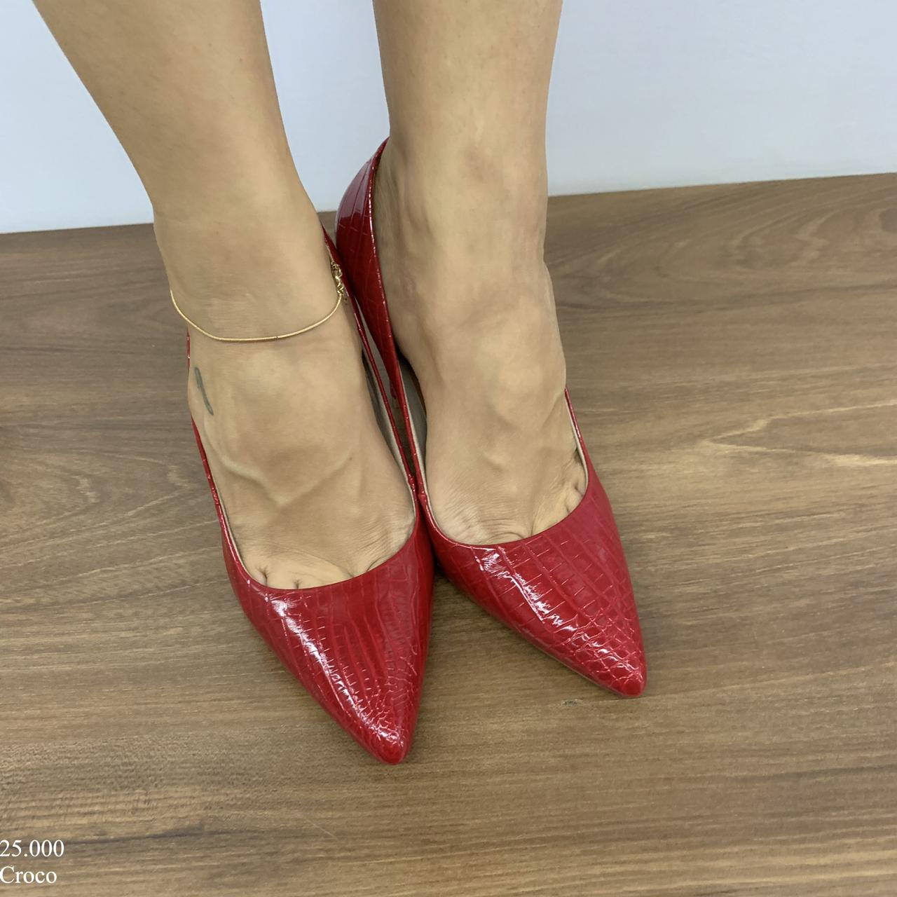 Scarpin Feminino Vermelho Croco   D-25.000-01