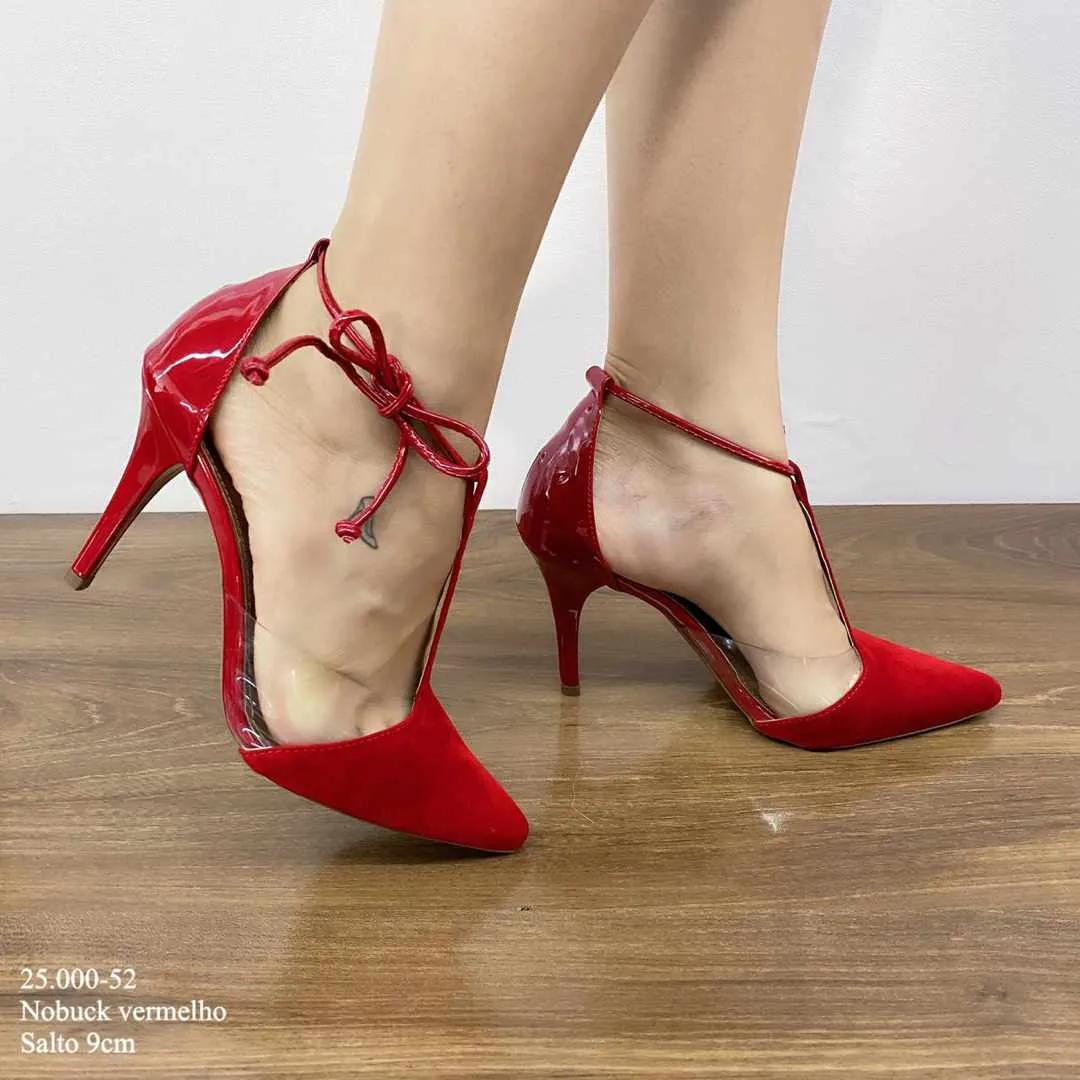 Scarpin Vermelho Nobuck | D-25.000-52