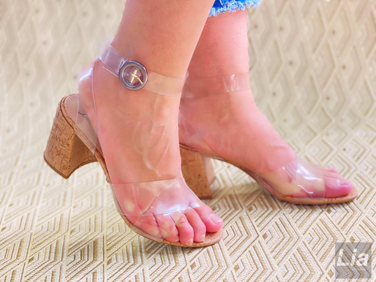 Sandália Transparente Salto Cortiça | D2021