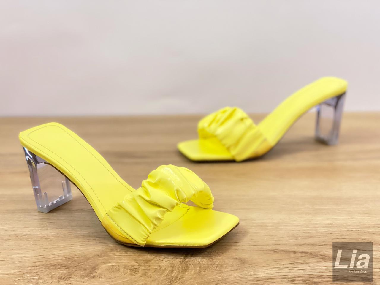 Tamanco franzido CRISTAL (amarelo)