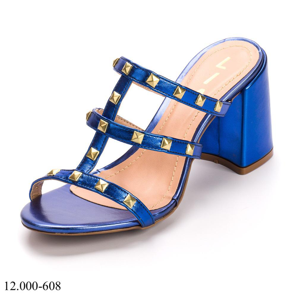 Tamanco Azul Metalizado Salto Bloco   D-12.000-608