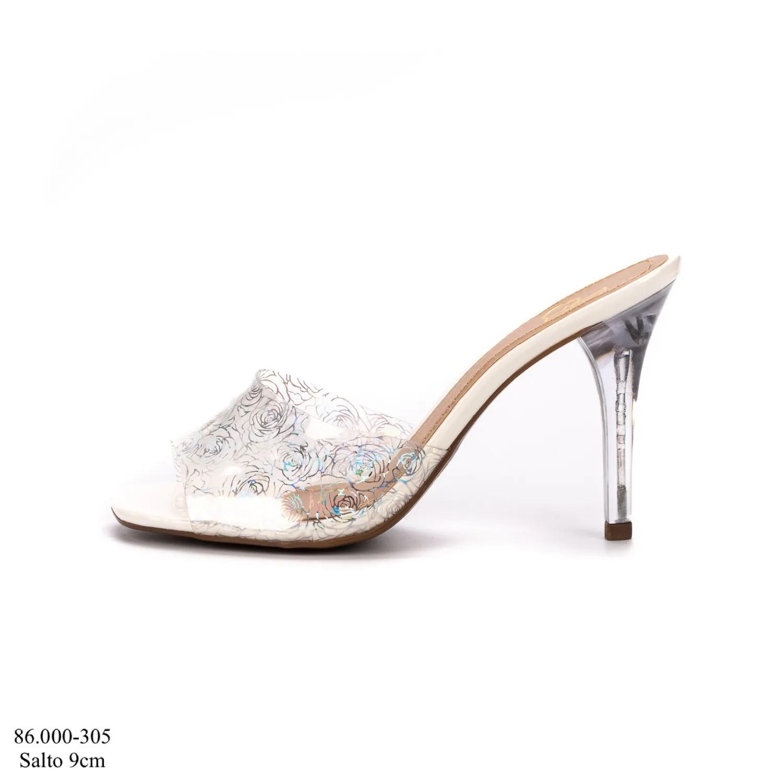 Tamanco Branco Salto Cristal| D-86.000-305