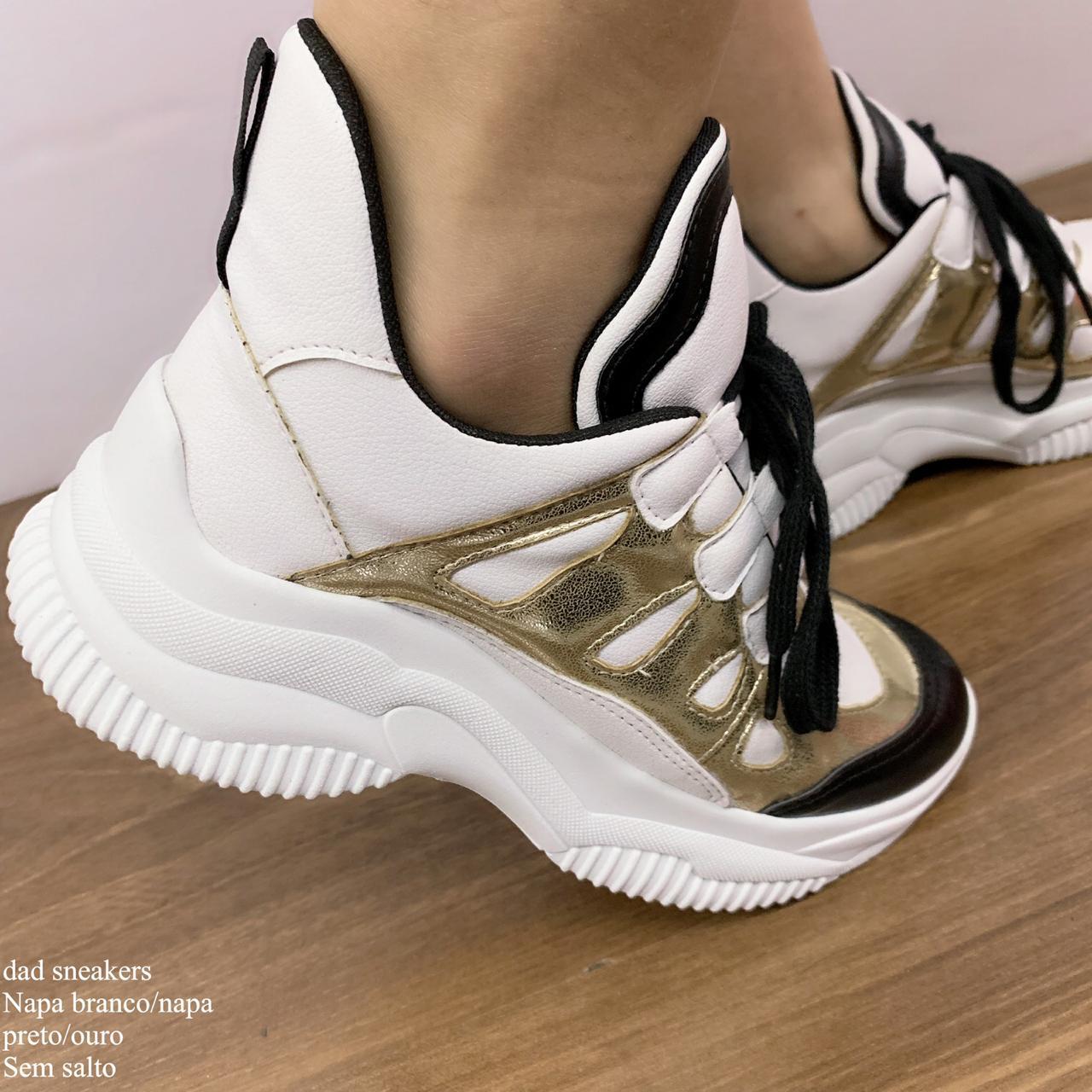Tênis DAD Sneakers Branco Napa Preto Napa OURO | D-380 D