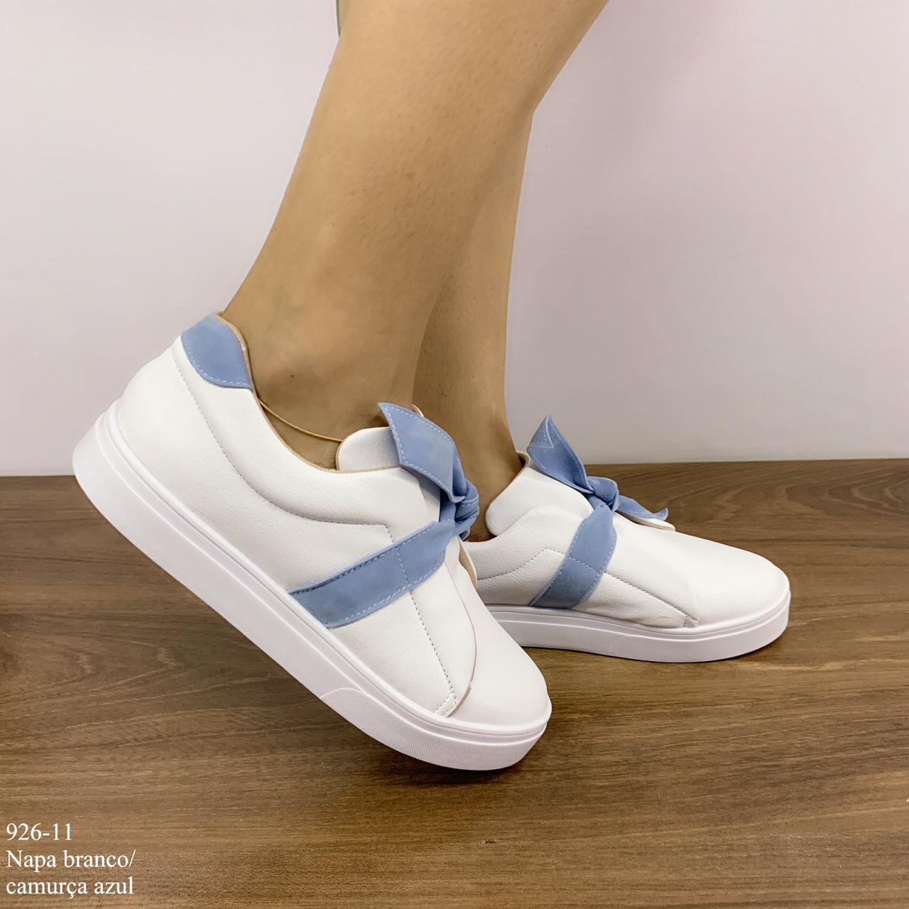 Tênis Feminino Branco Napa laço camurça azul | D- 926-11