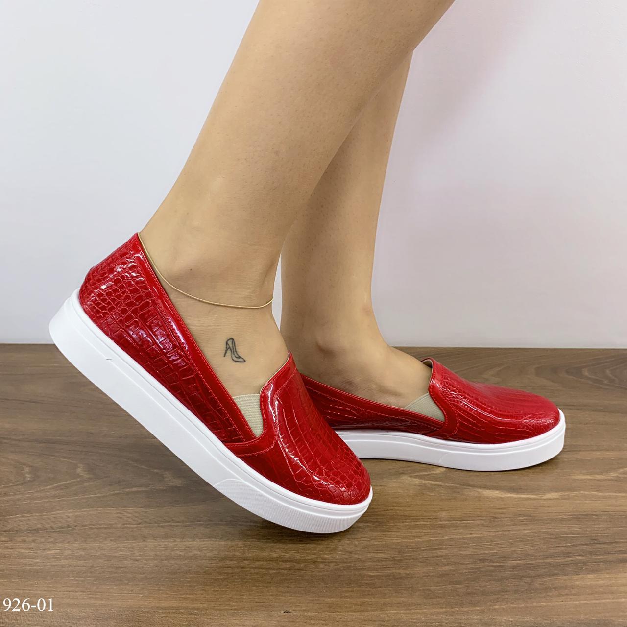 Tênis feminino Vermelho croco  | D- 926-01