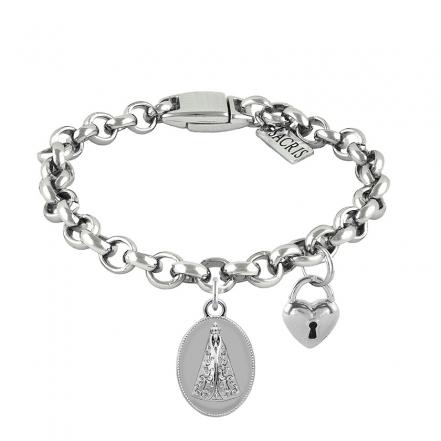 Cadeia Consagração Medalha Nossa Senhora Aparecida Pingente Cadeado Corrente Nº 1