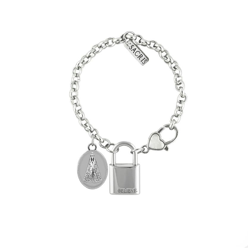 Cadeia Consagração Medalha Nossa Senhora Aparecida Corrente Nº 1 Fecho Lagosta (Cadeado Believe)