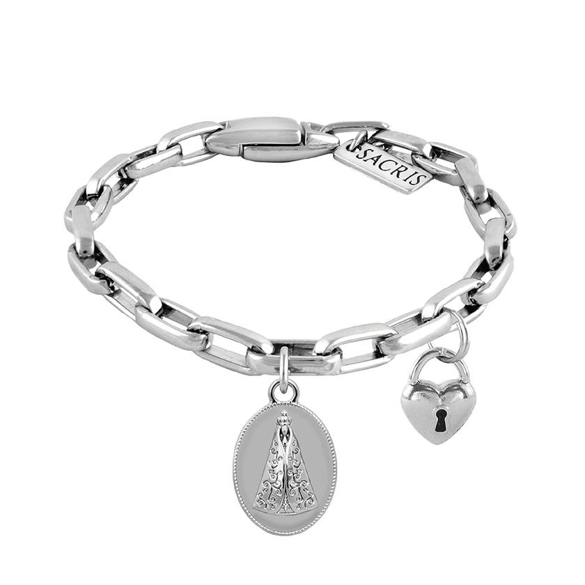 Cadeia Consagração Medalha Nossa Senhora Aparecida Pingente Cadeado Corrente Nº 2