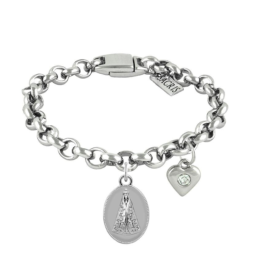 Cadeia Consagração Medalha Nossa Senhora Aparecida Pingente Coração Corrente Nº 1