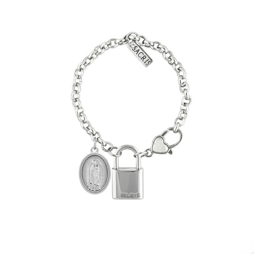 Cadeia Consagração Nossa Senhora de Guadalupe Corrente Nº 1 Fecho Lagosta (Cadeado Believe)