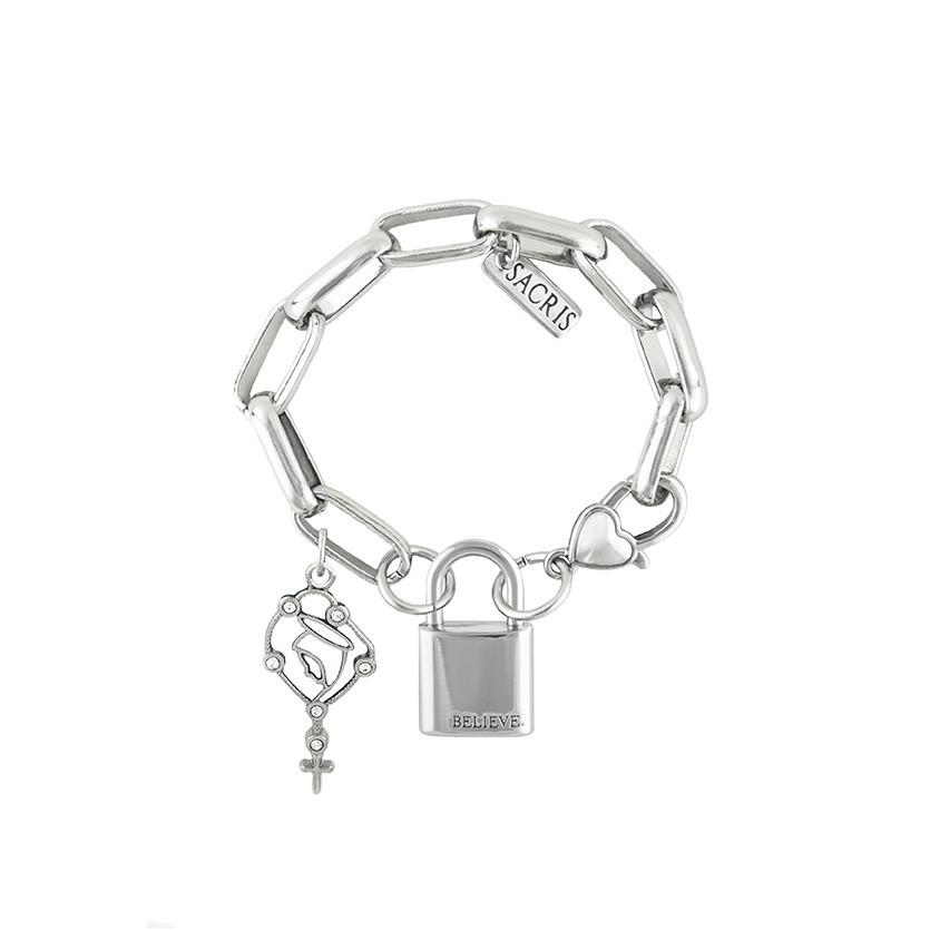 Cadeia Consagração Nossa Senhora do Rosário Corrente Nº 3 Fecho Lagosta (Cadeado Believe)
