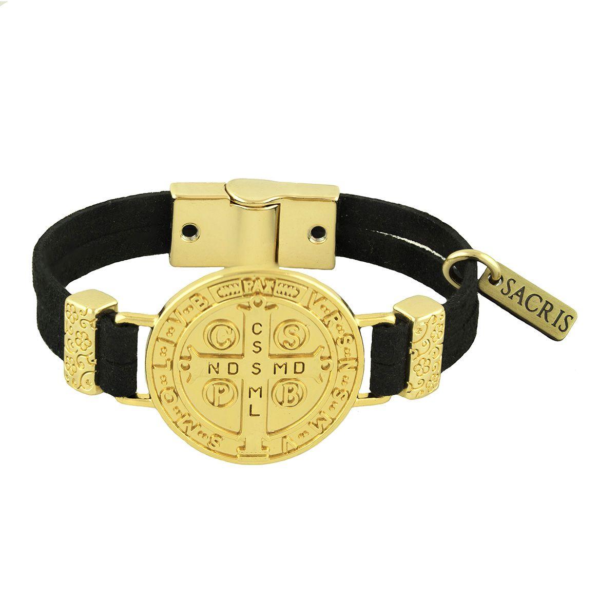 Pulseira Camurça Medalha de São Bento Dourada