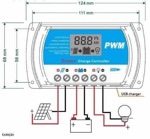 Painel Solar Yingli 100W + Controlador PWM 30A + Par MC4