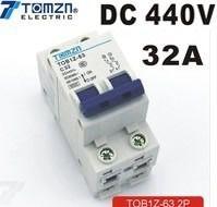 Disjuntor DC/CC 32A/440V Bipolar P/ Painéis Solar / Baterias