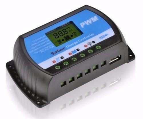 Controlador Solar PWM 30A LCD C/ USB 12V/24V Auto