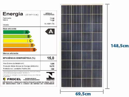 PAINEL SOLAR 160W YINGLI YL160P-17B 36 CÉLULAS POLICRISTALINO + MC4 - CX C/ 2UN
