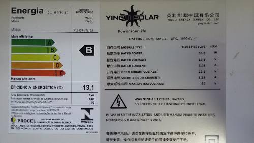 Painel Solar Yingli Yl055p-17b Policristalino 55w + Mc4