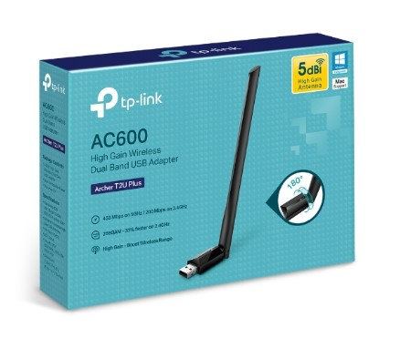 Adaptador Wireless TP-Link USB 2.0 AC600 Archer T2U Plus