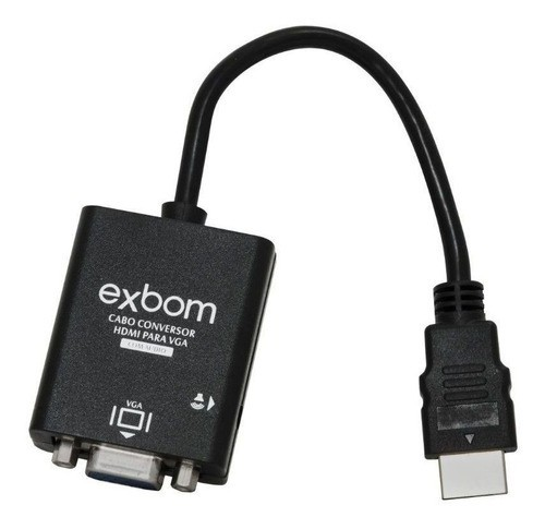 CABO ADAPTADOR / CONVERSOR HDMI MACHO PARA VGA FÊMEA 15CM