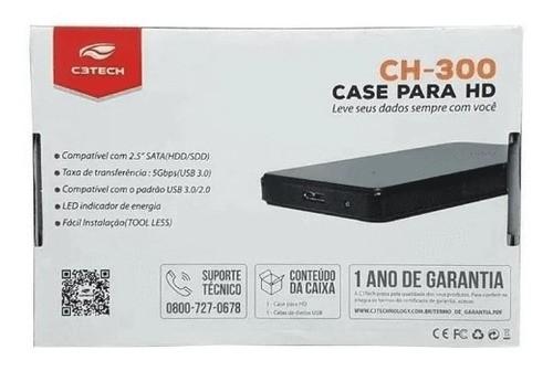 Case P/ HD 2.5 Externo CH-300 USB 3.0 C3TECH - Vermelho