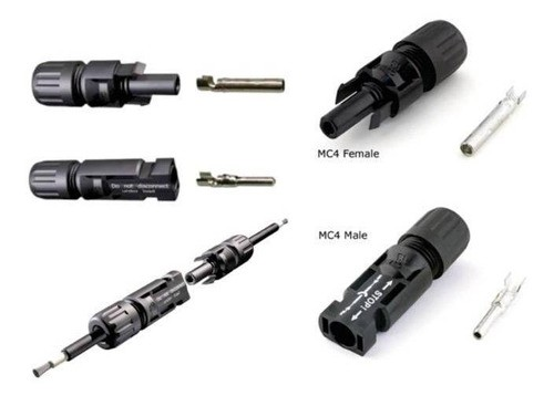 Conector MC4 P/ Painel Cabo Solar 4 a 6mm 30A IWISS - c/ 5 Pares