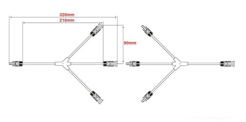 Conector MC4 - Y 3 Cabo P/ Ligação Paralelo Painel Solar - Par