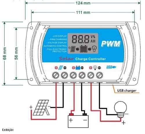Controlador de Carga Solar 20A LCD C/ USB 12V / 24V Auto