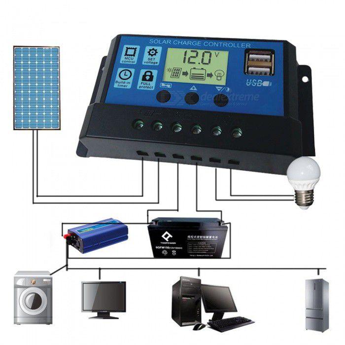 Controlador Solar 10A LCD 12V/24V C/ USB C/ Ajustes