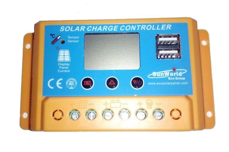 Controlador Solar 20A LCD 12V/24V C/ USB C/ Ajustes SW
