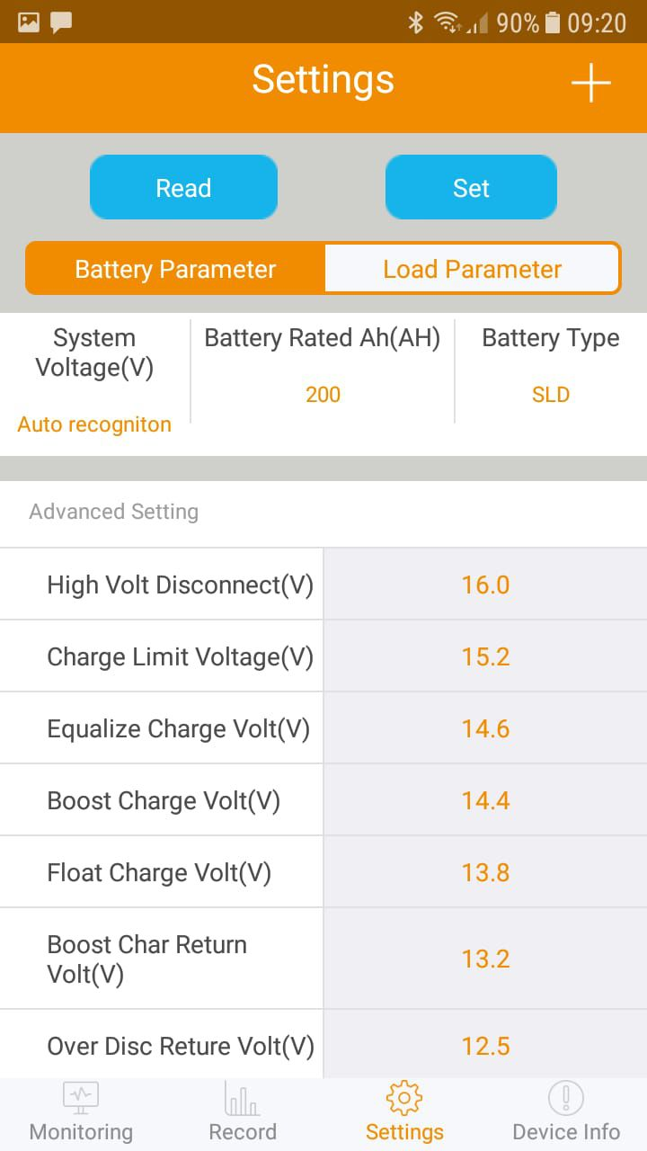Controlador Solar de Carga 50A PWM SR-HP2450B 12V/24V Bluetooth - SRNE