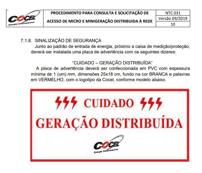 Placa CUIDADO – GERAÇÃO DISTRIBUÍDA Cocel  Tam 25x18 PVC/PS - 5un