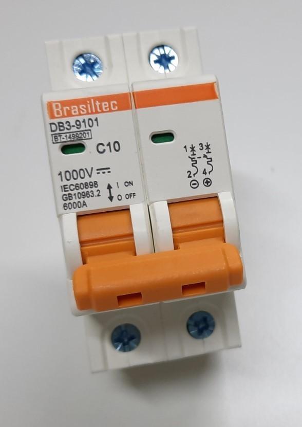 Disjuntor DC/CC 10A 1000V Bipolar P/ Painéis Solar / Baterias