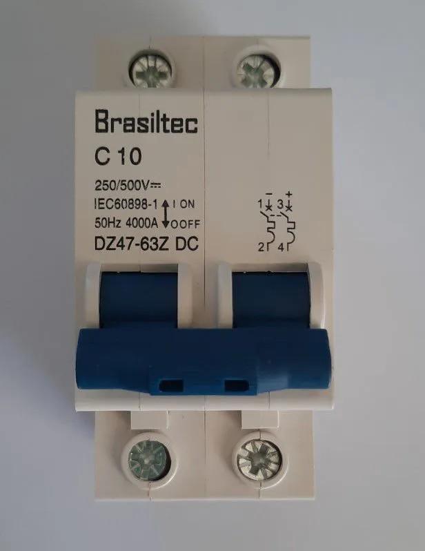 Disjuntor DC/CC 10A 500V Bipolar P/ Painéis Solar / Baterias