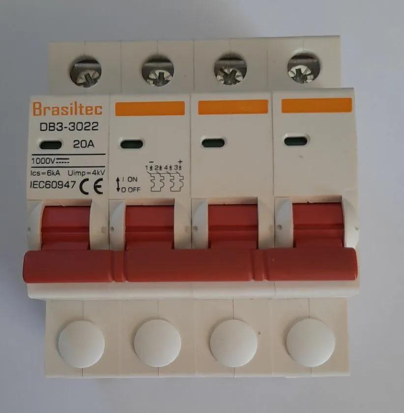 Disjuntor DC/CC 20A 1000V Bipolar P/ Painéis Solar / Baterias