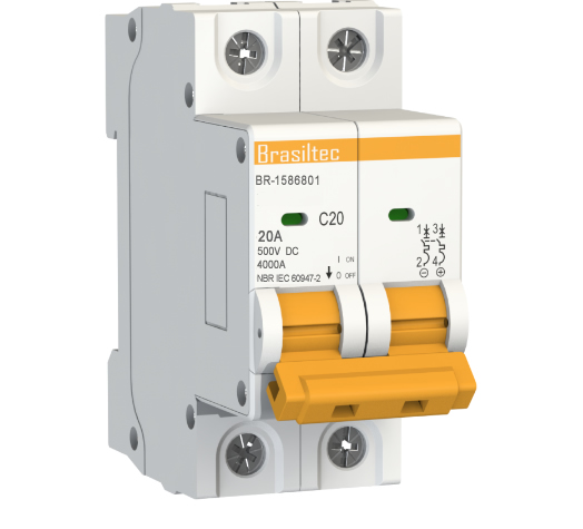Disjuntor DC/CC 20A 500V Bipolar P/ Painéis Solar / Baterias