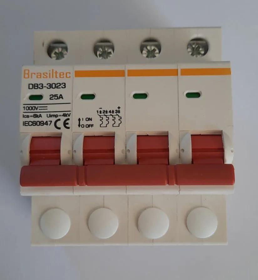 Disjuntor DC/CC 25A 1000V Bipolar P/ Painéis Solar / Baterias