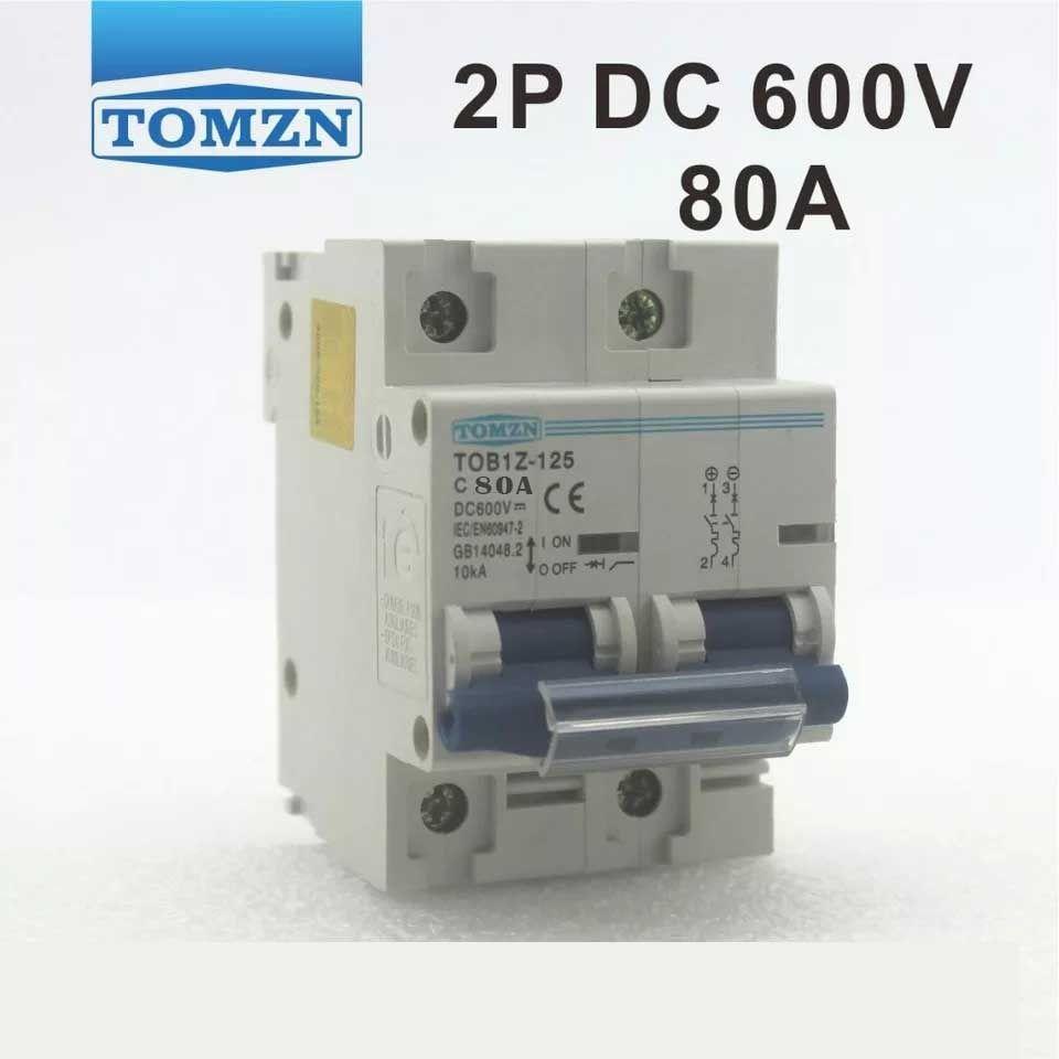 Disjuntor DC/CC 80A/600V Bipolar P/ Painéis Solar / Baterias