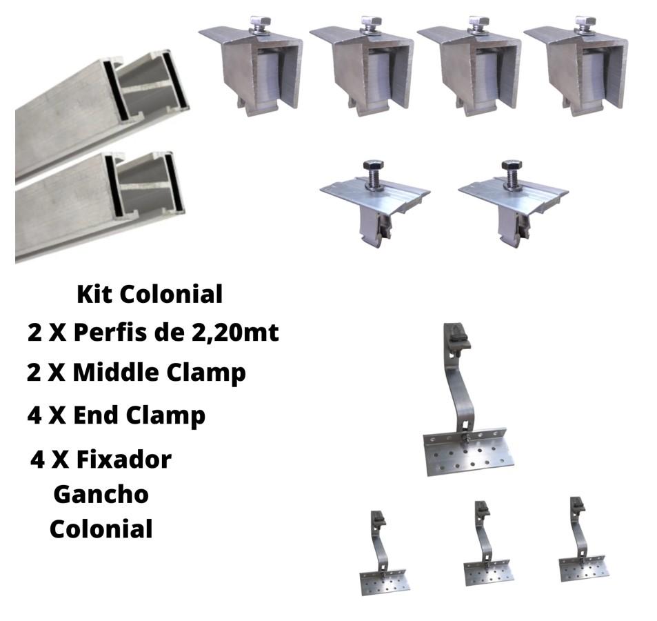 Estrutura Suporte 2 Painéis Solares Telha Cerâmica Cimento AL 5F