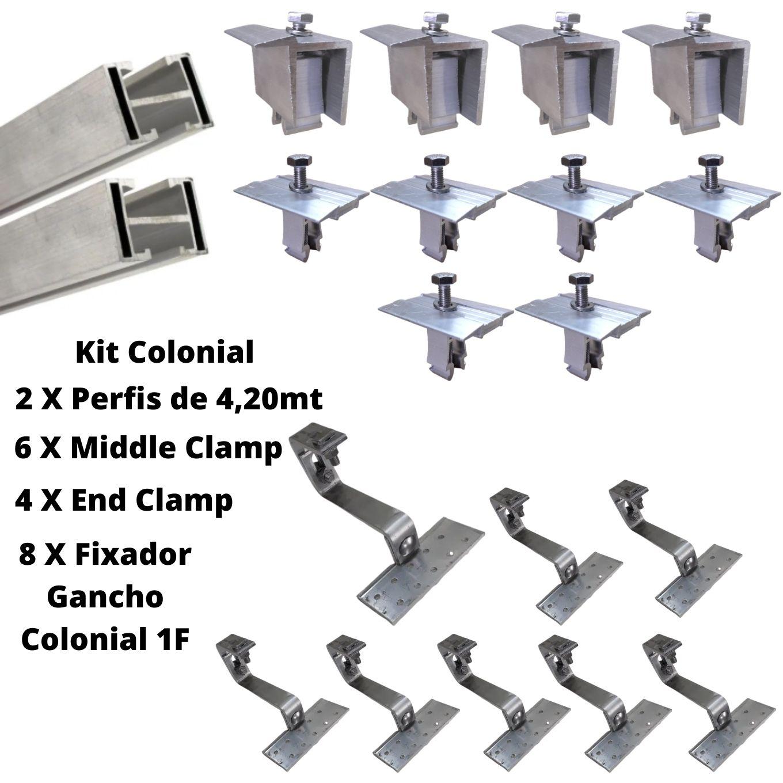 Estrutura Suporte 4 Painéis Solares Telha Cerâmica Cimento 1F