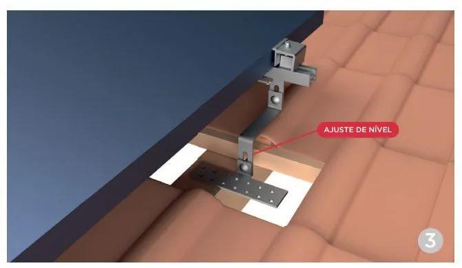 Estrutura Suporte 4 Painéis Solares Telha Cerâmica Cimento
