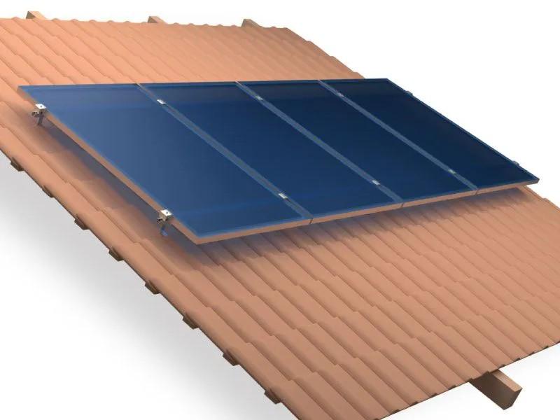 Estrutura Suporte 4 Painéis Solares Telha Cerâmica Cimento AL C/ Perfil 4,40Mt