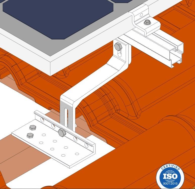 Estrutura Suporte 4 Painéis Solares Telha Cerâmica Cimento Solar Group
