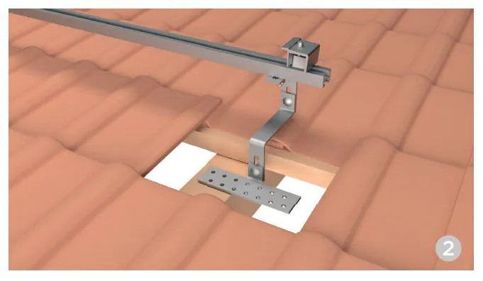 Estrutura Suporte Fixador P/ Perfil Painel Solar Galvanizado p/ Telha Cerâmica / Cimento c/ 4 Un