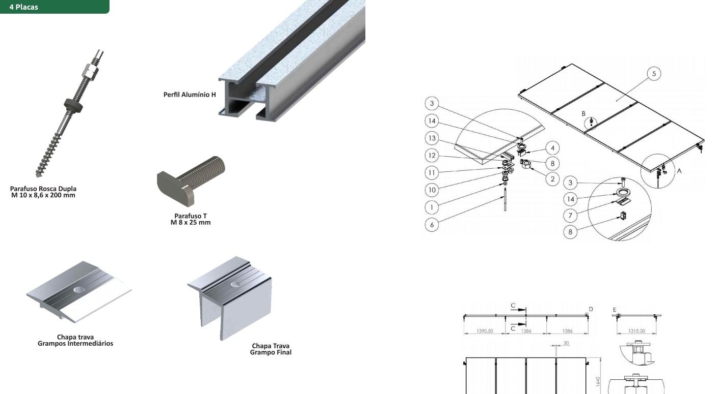 Estruturas Suporte P/ 4 Painéis Solares Telha Ondulada Rosca Dupla