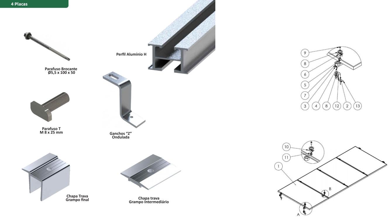 Estruturas Suporte P/ 4 Painéis Solares Telha Ondulada Z