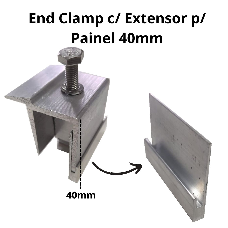 Fixador Z Final P/ Painéis Solares - End Clamp 40mm