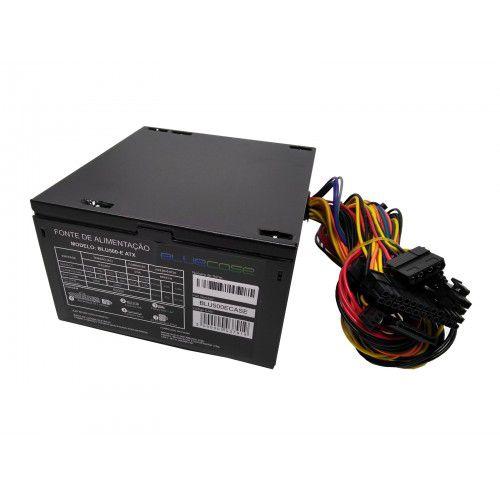 Fonte Bluecase Blu 500-E ATX, 500W com Cabo - BLU500ECASE
