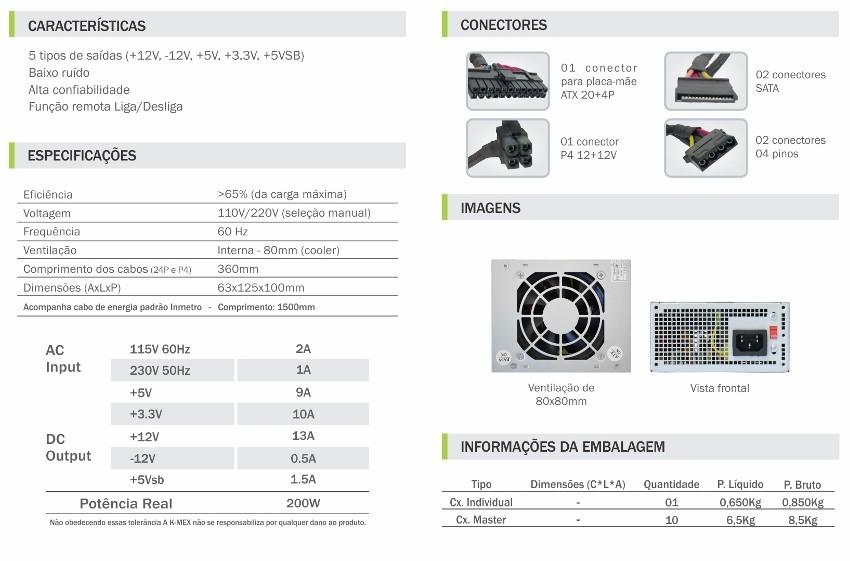 FONTE K-MEX PB-200CNF MINI ITX 200W MICRO ATX/ITX